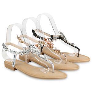 premium selection 6e8bd 44625 Details zu Damen Sandalen Zehentrenner Ketten Strass Sommer Flats 821048  Schuhe