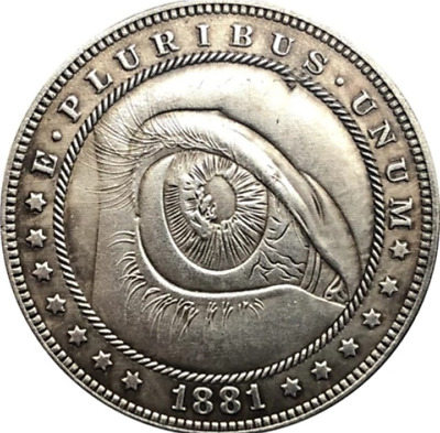 Hobo Nickel 1897 Morgan Dollar Hand Grabbing Lincoln penny in middle Casted Coin