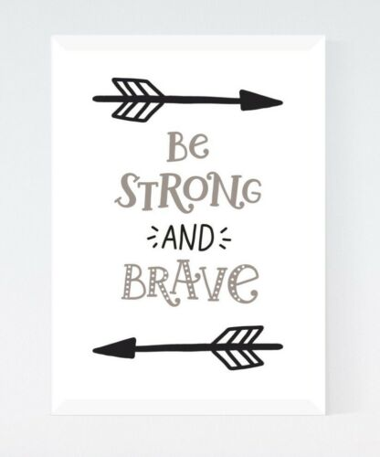 Black /& White Be Strong Arrow Quote Nursery Kids Room Print Wall Art Picture
