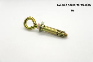 Permanent Anchor Eye Bolt for Concrete// Masonry Brickwork or Stonework M6.
