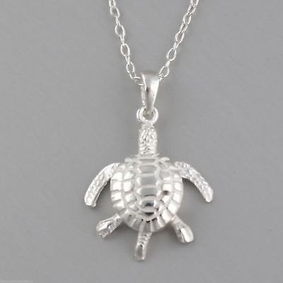 3D Pendant Marine Turtles NEW Baby Sea Turtle Necklace 925 Sterling Silver
