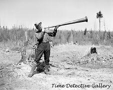 How a Cook Calls Lumberjacks to Dinner, Iron River, MI 1937 Historic Photo Print