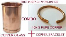 Ayurvedic 100% Copper BRACELET + GLASS/CUP Storage 300ml Drinking Water Yoga
