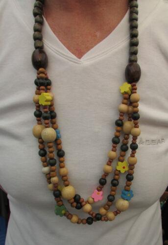 """Un multi-color/Boho Hippy in Legno Collana Di Perline. 32""""."""