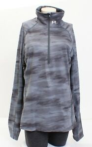 a156984928 Under Armour Coldgear Gray Printed Cozy 1/2 Zip Long Sleeve Shirt ...