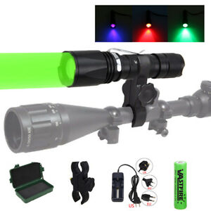Zoomable RGB Green//Red//UV Hunting Light Tactical For Hog Flashlight Night Vision