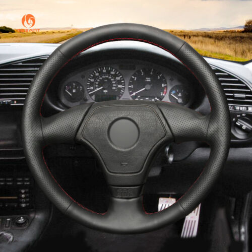Black Artificial Leather Car Steering Wheel Cover for BMW 8 Series E31 1996-1997