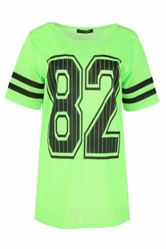 Ladies Airtex T Shirt Womens 82 Printed Baggy Stripe Sports Short Sleeve Top