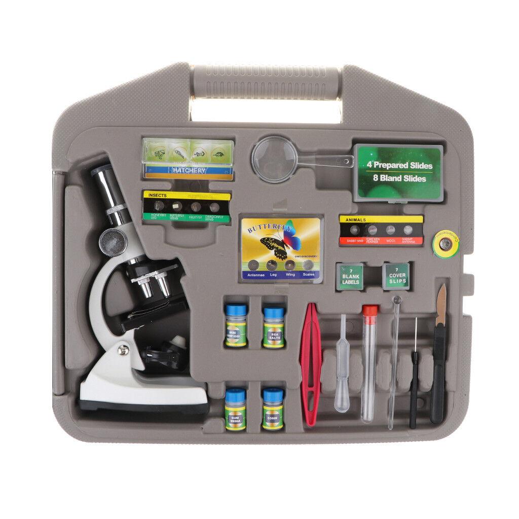 Advanced 100x 400x 1200x Microscope Science Kits w Case Biology Discovery
