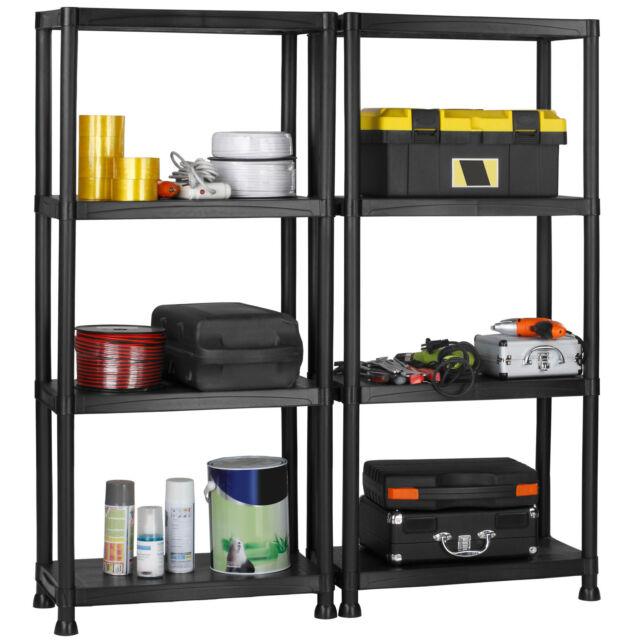 VonHaus Two Pack 4 Tier Plastic Garage Shelving Racking Storage Black