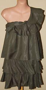 Womens-Khaki-Tiered-Dress-BNWT-220-Mucci-amp-Me-Size-8