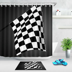 Image Is Loading Race Car Flag Shower Curtain Waterproof Fabric Polyester