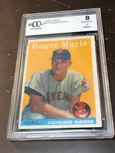 1958-TOPPS-ROGER-MARIS-47-BCCG-8-ROOKIE-CARD-HIGH-END