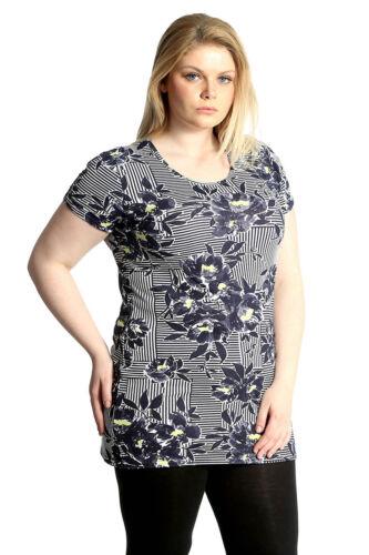 Neu Damen Übergröße Oben Frau Streifen Blumen Druck T-Hemd Tunika Lange T-Shirt