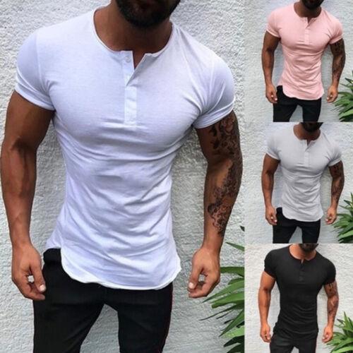 Men Boy Slim Fit V Neck Short Sleeve Muscle Button Tee T-shirt Summer Top Blouse