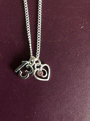 """13TH BIRTHDAY PRETTY HEART CHARM NECKLACE THIRTEEN 18/"""" Silver Plated Chain Gift"""