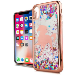 For Iphone X Xs Max Xr Rose Gold Unicorn Case Moving Glitter