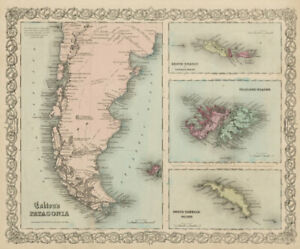 Show A Map Of Georgia.Details About Colton S Patagonia South Orkney Falkland Islands South Georgia 1863 Map