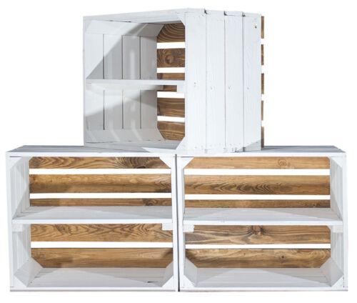 NEUHEIT Used Apfelkiste Boden geflammte Optik kein Abfärben Weinkiste Holz Weiß