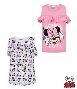 Girls Kids Official Disney Minnie Mouse White Stripey Short Sleeve T Shirt Top
