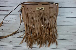New-Calvin-Klein-Fringe-Bucket-Bag-Cashmere-Tan-Leather-MSRP-298