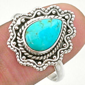 2.44cts Solitaire Blue Arizona Mohave Turquoise 925 Silver Ring Size 8.5 T41485