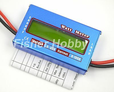 RC Boat Heli Watt Meter Digital LCD Display DC Battery Power Analyzer 60V 100A