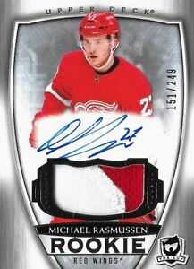 2018-19-U-D-THE-CUP-ROOKIE-MICHAEL-RASMUSSEN-R-C-AUTO-PATCH-SP-249-DETROIT