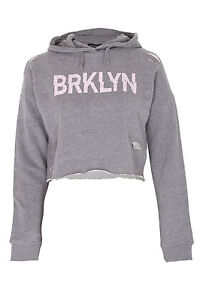 eb936b6a6e4ac Image is loading Girls-BRKLYN-Ripped-Crop-Hoodie-Kids-Hooded-Jacket-