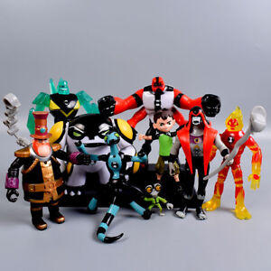 9pcs-Ben-10-Ben-Tennyson-Four-Arms-Grey-Matter-Heatblast-PVC-Action-Figures-Toys