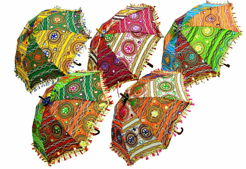 25 Pc Lot Indian Women Sun Shade Umbrella Wedding Mehndi Decoration Home
