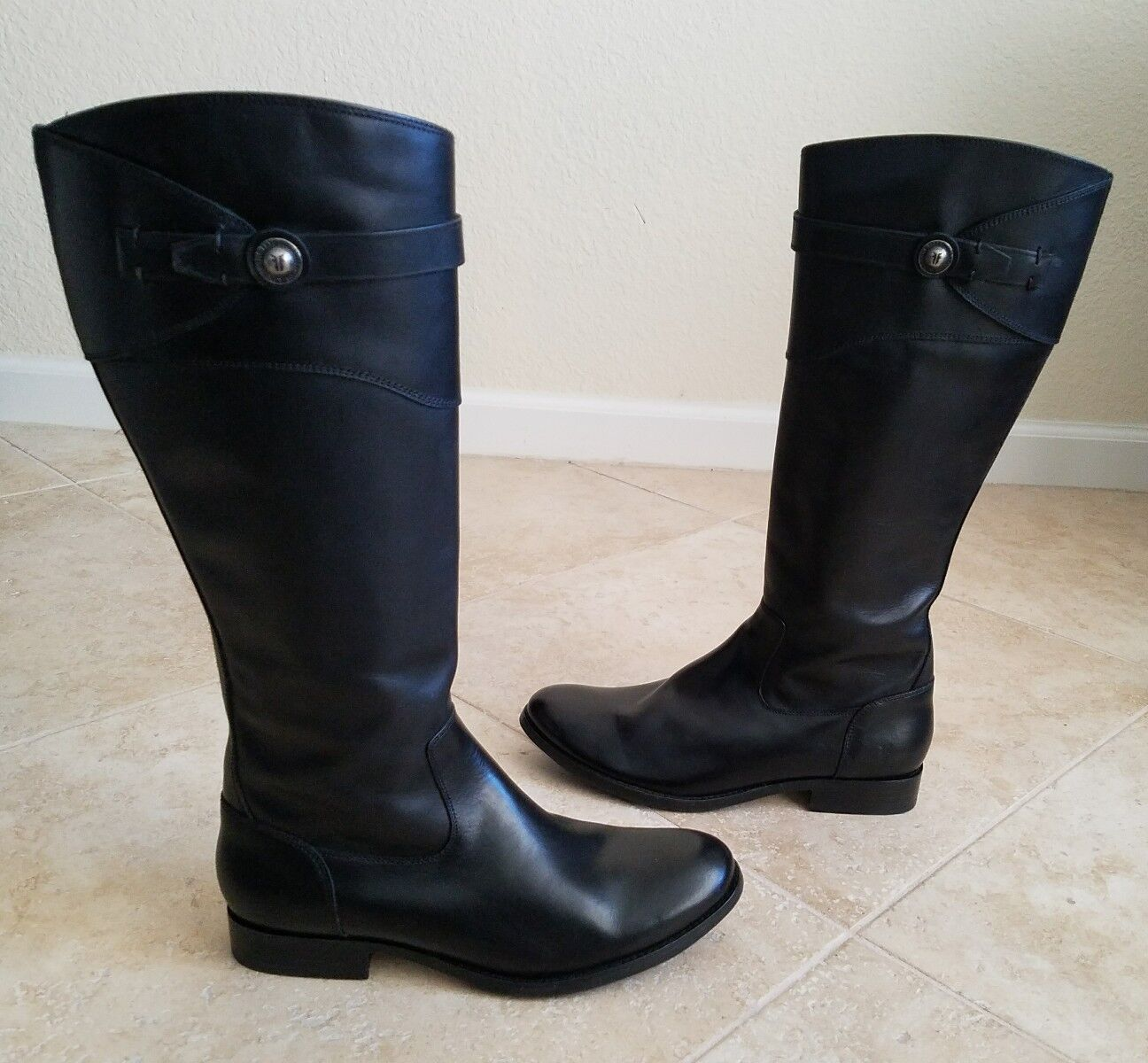 NEW FRYE MOLLY MOLLY MOLLY BUTTON TALL RIDING BOOT BLACK 9.5 SIDE ZIP bcb64d