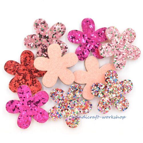 20Pcs Shiny Poudre Sequin Fleur Patches Coussinets Appliques pour Artisanat Accessoires