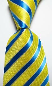 New-Classic-Striped-Yellow-Blue-White-JACQUARD-WOVEN-100-Silk-Men-039-s-Tie-Necktie