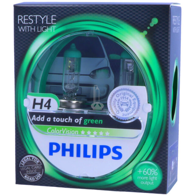 H4 Philips Colorvision verde-styling con luz-duo-Pack-Box