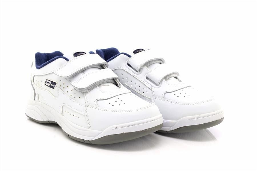Dek ARIZONA T198 Touch Fastening Leather Padded Trainers Fuller Fitting White C