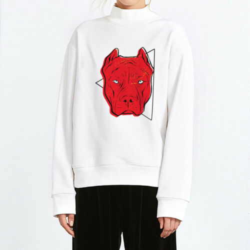 Damen Langarmshirt Sweatshirt Lustig Cartoon Tier Aufdruck Sweater Pullover Weiß