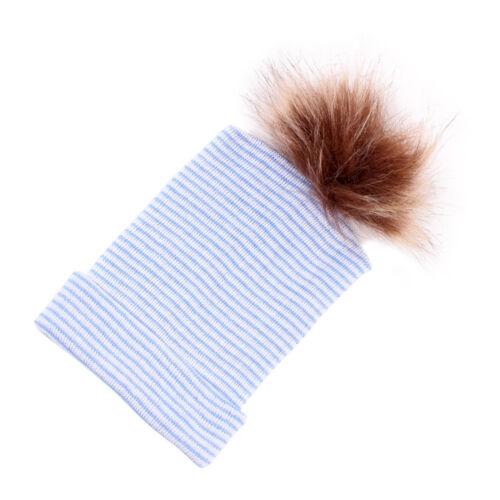 Newborn Baby Infant Boy Girl Toddler Warm Comfy Hospital Cap Fur Pom Beanie Hat