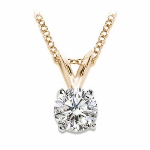 2.00 CT Round Brilliant Solitaire Diamond 14K Rose Gold Finish Necklace W//Chain