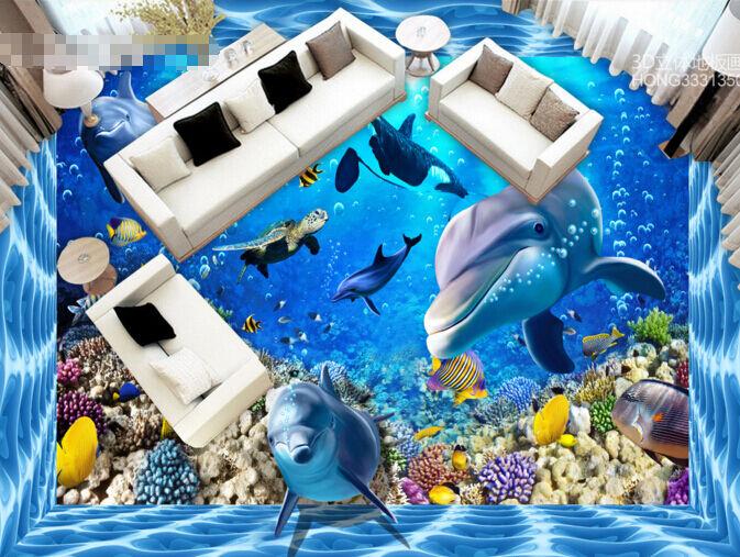 3D Océan 061 Fond d'écran étage Peint en Autocollant Murale Plafond Chambre Art