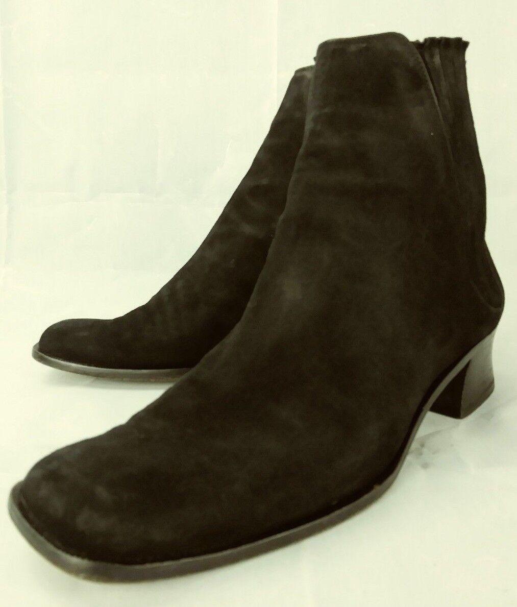 gli ultimi modelli Ralph Lauren Lauren Lauren donna stivali Chelsea Ankle US 7 nero Suede Heels viola label 2092  prezzo all'ingrosso e qualità affidabile