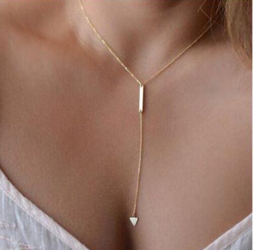 Halskette Y-Kette mit Dreieck Gold Kette Anhänger Schmuck Damen Mädchen P300
