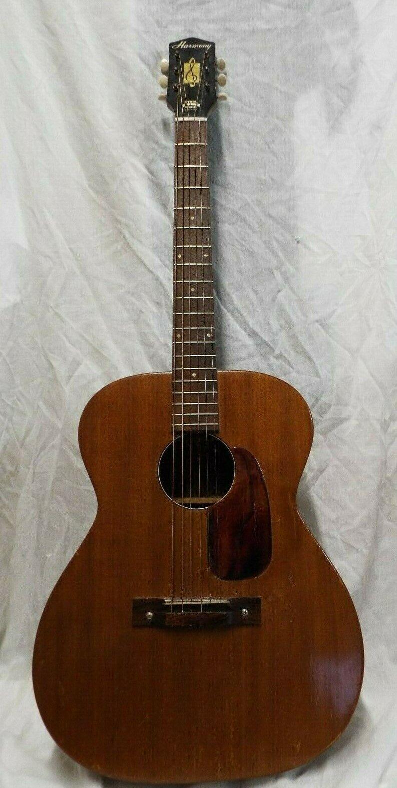 Vintage Harmony Steel Reinforced  Neck Acoustic Guitar w  CASE