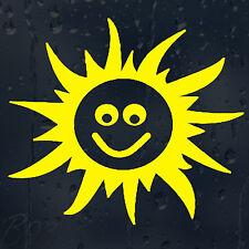 Yellow Happy Smiley Sun Funny JDM Car Phone Decal Vinyl Sticker Colour Choice