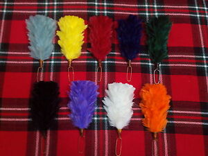 Glengarry Cap Plume Hackle Balmoral Hats Highland Head wear Red,White,Blue<wbr/>,White
