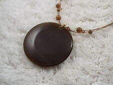 Brown Cat's Eye Glass Pendant Necklace (D10)
