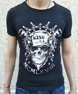 Oversize Uomo Strass T-Shirt Manica Corta Slim Fit Té Motivo Schwarz Blu S-XL