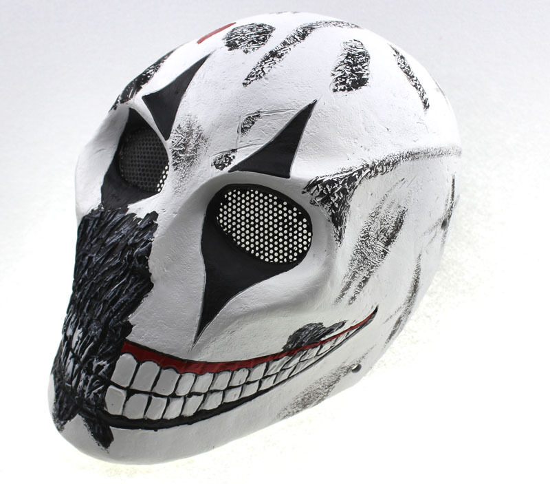 Fiberglass Resin Mesh Eye Airsoft Paintball Full Predection Clown Skull Mask 881