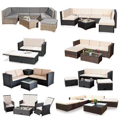Mobilier de jardin banquette lounge poly rotin meubles canapé salon  ensemble de jardin | eBay