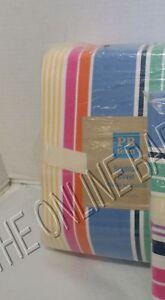 Pottery Barn PB Teen Kids Brighton blue pink stripe bed Duvet cover Twin multi
